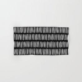 Classy Handpainted Stripes Pattern Black, Scandinavian Design Hand & Bath Towel