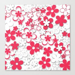 Red and white paper flowers 2 Canvas Print