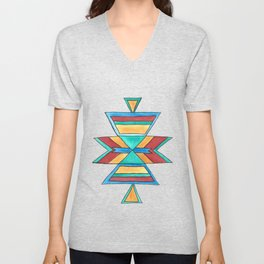 Colorful Tribal Design Unisex V-Neck