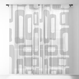 Retro Mid Century Modern Abstract Pattern 336 Gray Sheer Curtain