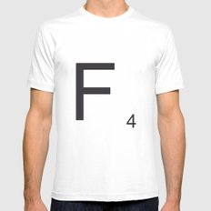 Scrabble F MEDIUM White Mens Fitted Tee
