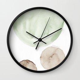 19 |181104 Australian Leaf Green & Brown Earth Orbs | Watercolour Circle Abstract Geometrical Wall Clock