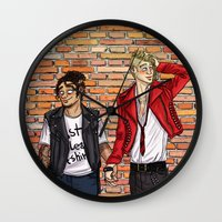 grantaire Wall Clocks featuring punks in love by caroll-in