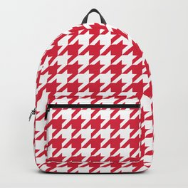 Houndstooth Checkered Cherry Red & White Desig Backpack