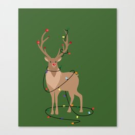 Rudolph Red Nosed Reindeer happy with his Favorite Christmas Lights Canvas Print