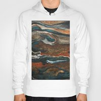 "geology Hoodies featuring ""stratify"" abstract watercolor and gouache painting by Carol Farnum Art"