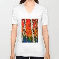 birch V-neck T-shirts featuring Orange Birch  by BeachStudio