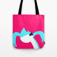 regular show Tote Bags featuring Mordecai - Regular Show by Rey~