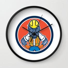 Angry Gorilla Construction Worker Circle Cartoon Wall Clock