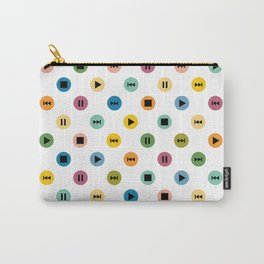 Music Player Icons Polka Dots (Multicolor on White) Carry-All Pouch