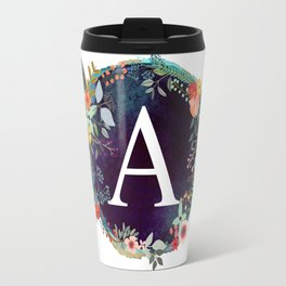 Personalized Monogram Initial Letter A Floral Wreath Artwork Travel Mug