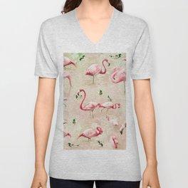 Flamingos Vintage Pink  Unisex V-Neck