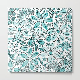Turquoise Flower Garden - Hand Drawn Vector Florals Metal Print