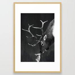 Elk and Rabbit Framed Art Print