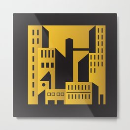 Golden city art deco Metal Print
