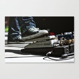 Chuck Taylors and a Volume Pedal on a Pedal Board Canvas Print