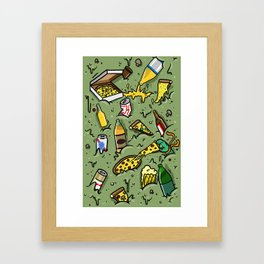 PIZZA AND BEER Framed Art Print
