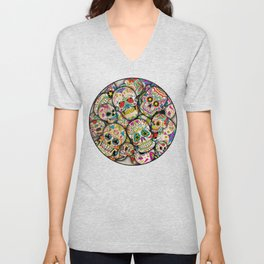Sugar Skull Collage Unisex V-Neck