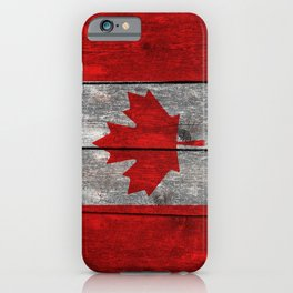 Canada flag on heavily textured woodgrain iPhone Case