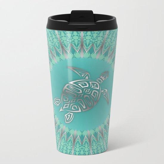 Turquoise Silver Turtle And Mandala Metal Travel Mug
