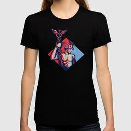 Mercury Holding Caduceus Staff Retro T-shirt