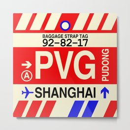 PVG Shanghai (Pudong) • Airport Code and Vintage Baggage Tag Design Metal Print