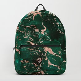 Modern rose gold marble green emerald watercolor pattern Backpack