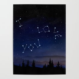 I love You Stars Design Poster