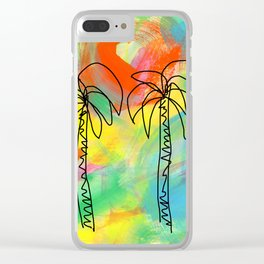 Palm Trees Wish You the Best - summer colorful illustration California Los Angeles Hawaii Clear iPhone Case