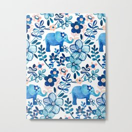 Blush Pink, White and Blue Elephant and Floral Watercolor Pattern Metal Print