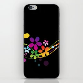 Cut Paper Flowers and Ferns on Black  15K iPhone Skin