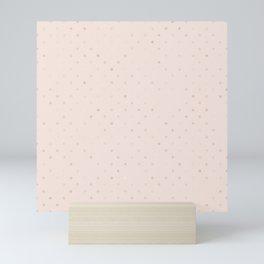 Elegant blush pink rose gold girly polka dots Mini Art Print