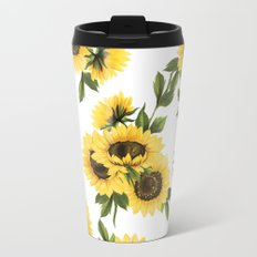 Lovely Sunflower Metal Travel Mug