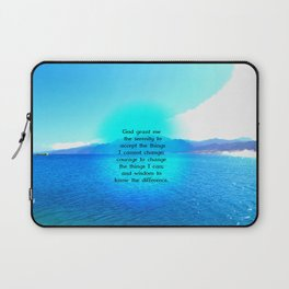 Serenity Prayer With Blue Ocean and Amazing Sky Laptop Sleeve