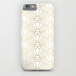 Gold and white geometric Art Deco pattern iPhone Case