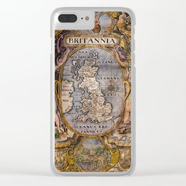 Map Of Britain 1607 Clear iPhone Case