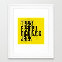 steelers Framed Art Prints featuring Terry Franco Mean Joe Jack / Gold by Brian Walker
