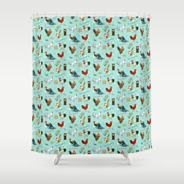 Cute seamless roosters pattern cartoon Shower Curtain