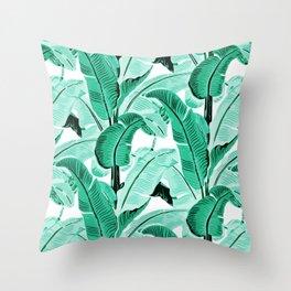 jungle leaf pattern mint Throw Pillow