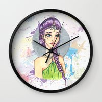 princess Wall Clocks featuring Princess by Lagoonartastic
