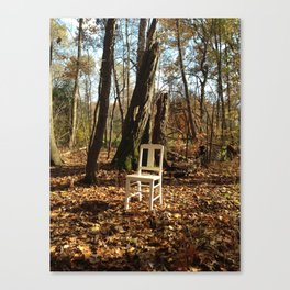 Just a chair in the Woods Canvas Print