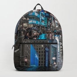 Spectacular Busy New York Manhattan City Street Blue Hue HD Backpack