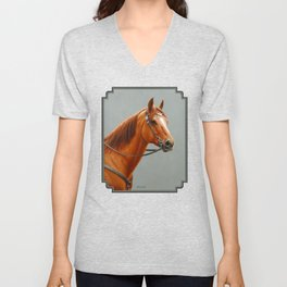 Red Dun Western Quarter Horse Unisex V-Neck