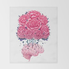 Creative Brains with peonies Throw Blanket