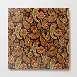 Autumn Paisley Metal Print