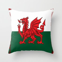 Y Ddraig Goch Grunge Welsh Flag Throw Pillow