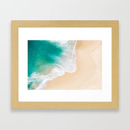 Sand Beach - Waves - Drone View Photography Framed Art Print
