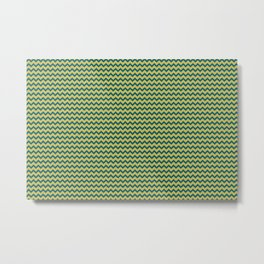 Dark Yellow and Tropical Dark Teal Inspired by Sherwin Williams 2020 Trending Color Oceanside SW6496 Simple Chevron Zigzag Horizontal Line Pattern Metal Print