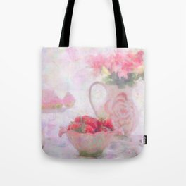 Strawberries & Cream Still Life Impressionist Painting Tote Bag