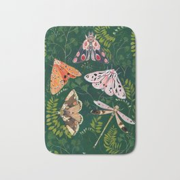 Moths and dragonfly Bath Mat